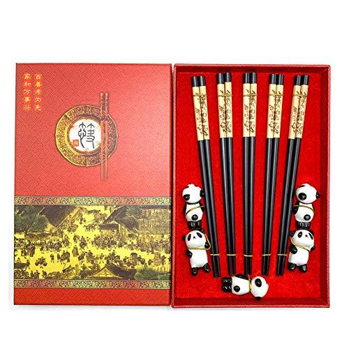 Mainiusi Holz Essstäbchen Set mit Ruhe, wiederverwendbar, japanisches Naturholz, Panda, Keramikhalter, 5 Paar, authentisches traditionelles chinesisches Geschirr für Anfänger mit Geschenkbox