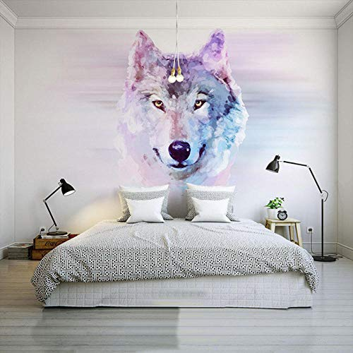 Fotobehang Abstract Art Animal Wolf 3D Fotobehang Restaurant Clubs Ktv Bar Slaapkamer Ontwerp Wallpaper-500Cm (W) X 320Cm (H)