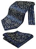 HISDERN Herren Floral Paisley Jacquard gewebt Ascot Set Marineblau/Braun