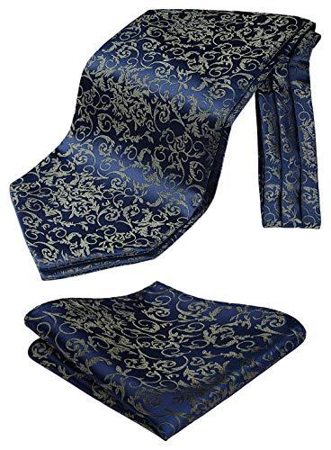 HISDERN Herren Krawattenschal Paisley Floral Hochzeit Ascot Krawatte Marineblaues Gold Business Halstuch Einstecktuch