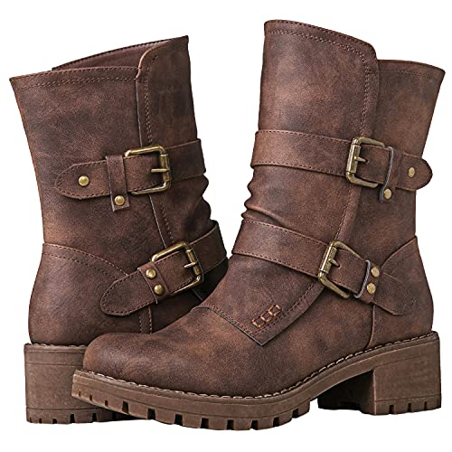 GLOBALWIN Fashion Ankle Boots for Women Brown 8.5M