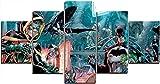 Gmoope Impreso Mural 5 Piezas Lienzos Cuadros Pinturas Universo Quinn Killer Croc Nightwing Clown Robin Películas Impresiones En Lienzo Decoración para El Arte De La Pared del Hogar Listo para Colgar
