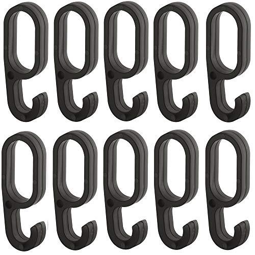 Gedotec Einhängehaken für Schrankstange Schrankrohr Oval - H10623 | Kunststoff schwarz | Kleider-Aufhänger für Kleiderstange 30 x 15 mm | Haken zum aufschieben | 10 Stück - Kleiderhaken für Ovalstange