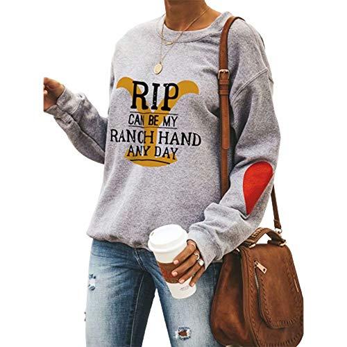 uDaShaA Felpa da Donna con Stampa Yellowstone Manica Lunga Girocollo Casual RIP Grafico pullocer Allentato Tunica