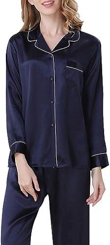 AXIANQI Pyjama Les Les dames Rouge Sexy Revers Service à Domicile Occasionnel Costume 100% Soie Confort Mulberry Les Les dames Costume De Bain A (Couleur   Bleu, Taille   XL)