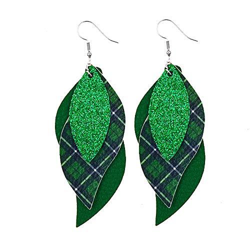Pendientes Mujer Pendientes De Plumas De Cuero Verde Brillante Pendientes De Impresión Simple De Moda-08