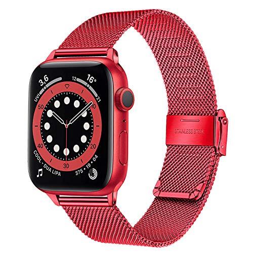 TRUMiRR Correa de Reloj Compatible con 40mm 38mm Apple Watch Hombres Mujeres, Correa de Reloj de Acero Inoxidable Pulsera de Malla Tejida con Pulsera para iWatch Apple Watch SE Series 6 5 4 3 2 1