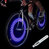 DAWAY A08 Bike Tire Valve Stem Light - LED Waterproof Bicycle Wheel Lights Neon Flashing Lamp Glow in The Dark Cool Safe Accessories (1 Pack, Blue+Graphics)