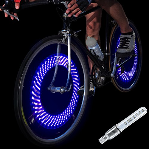 DAWAY A08 Bike Tire Valve Stem Light - Bright Led Auto Bicycle Wheel Lights, Waterproof, Cool Safety Bycicle Spoke Accessories for Men Boys Uncle Dad Boyfriend Husband, 1 Pack, Blue Graphics
