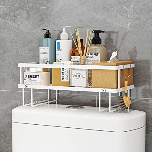 RYUNQ Estantería Inodoro sobre el WC 1 Niveles, Estantes de baño Pequeños de Gran Capacidad, Armario para Lavadora Estantería de Metal, Impermeable y Antioxidante Estanteria WC para Baño (Blanco)