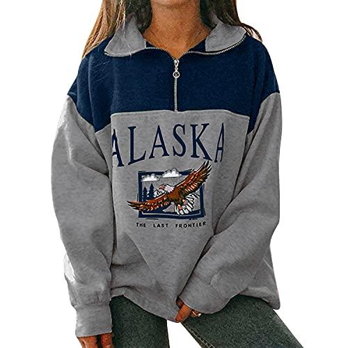 Voqeen Sudadera con Cremallera de Manga Larga para Mujer Alaska Sudadera sin Capucha y Cuello Alto con Estampado de Letras Abrigo de Abrigo Cálido con Contraste Vintage
