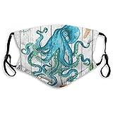 Octopus Ocean Animal Sea Criatura con subacuático ajustable anti polvo boca cara reutilizable lavable cara cara cara cara cara cara cara cara cara cara bufanda de polvo facial