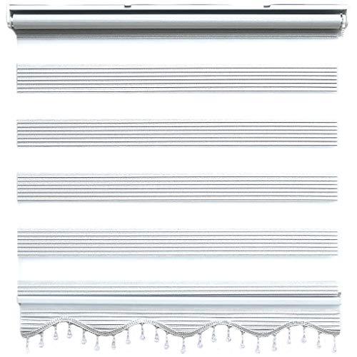 Doppelrollo Duorollo Zebrarollo Silber Beige glänzende Fenster Tür Rollos mit Volant Perlen 120 x 200 cm