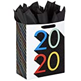 Hallmark 13' Large 2020 Graduation Gift Bag with Tissue Paper (Rainbow with Black Glitter)
