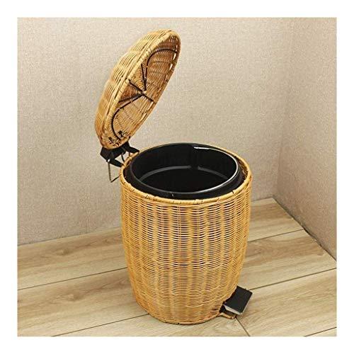BBGSFDC Papelera con tapa de bambú y ratán, para el hogar, sala de estar, dormitorio, cocina, cuarto de baño, cubo de basura tipo pedal con tapa, color marrón, amarillo, multicolor