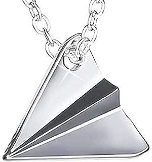 Legisdream - Collar con Colgante de Origami en Forma de avión de Papel de Plata - Idea de Regalo para el día de la Madre
