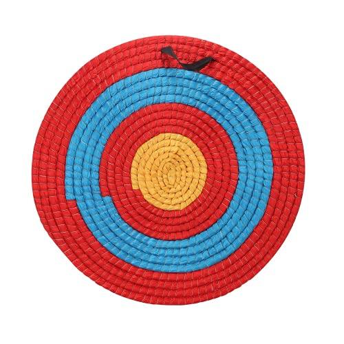 JINJIANG Objetivo de Tiro con Arco de Paja sólida 55*55cms Tiro con Arco para Deportes al Aire Libre, Arco de Tiro Flecha de Paja Arco Accesorios de Entrenamiento Color Rojo y Azul (Tres Capas)