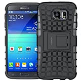 Samsung Galaxy S6 Case,ALDHOFA Heavy Duty Hybrid Shockproof Protective Phone Case Cover With Stand for Samsung Galaxy S6 (Black)
