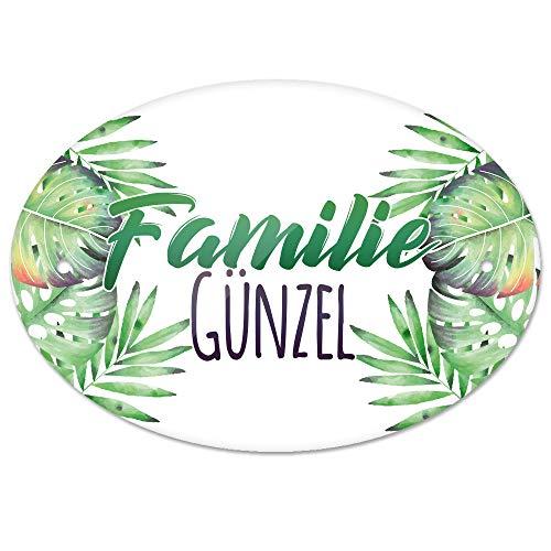 Eurofoto Türschild mit Namen Familie Günzel und Tropischem Pflanzen-Motiv | für den Innenbereich | Klingelschild mit Nachnamen