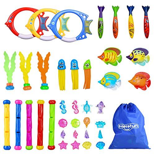 Herefun Tauch Pool Spielzeug 39Stk, Tauchspielzeug Schwimmbad Spielzeug, Unterwasser Schwimmbad Spielzeug Enthält Tauchbälle Tauchstöcke Tauchringe & Spielzeuge zum Tauchen Lernen für Kinder