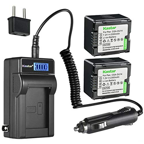 Kastar 2-Pack CGA-DU14 Battery and LCD AC Charger Compatible with Panasonic PV-GS65, PV-GS70, PV-GS75, PV-GS80, PV-GS83, PV-GS85, PV-GS120, PV-GS150, PV-GS180, PV-GS200, PV-GS250, PV-GS300, VDR-M30