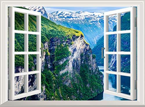 Wandaufkleber, Motiv: Berge / Wald / Fluss, 3D-Fensteransicht / Landschaft, Vinyl, 90 x 60 cm