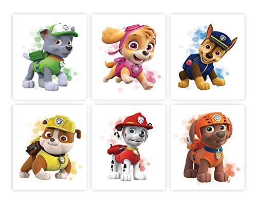 """Cartoons Paw Patrol Puppy Theme Art Prints Set of 6 (8""""X10"""" Canvas Picture) Children Boys Birthday Gift Game Room Decor Kids Nursery Wall Poster Art Painting Home Decor Unframed"""