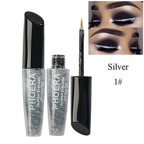 Allbesta Glitter Metallic Liquid Eyeliner Shimmer Lidschatten Sparkle Langanhaltendes Eye Liner...