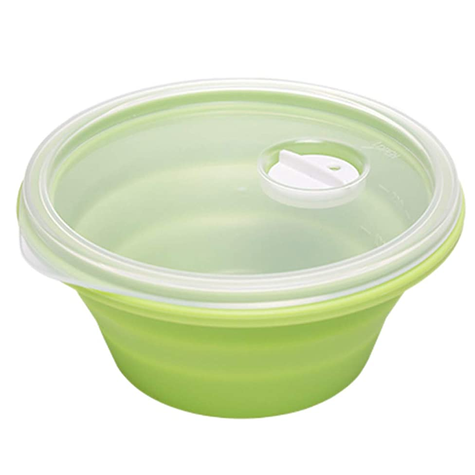 Bowls Bowl folding bowl lunch bowl with lid eating bowl cute good bowl tableware household microwave folding gift (Color : Green, Size : 12.512.56cm)