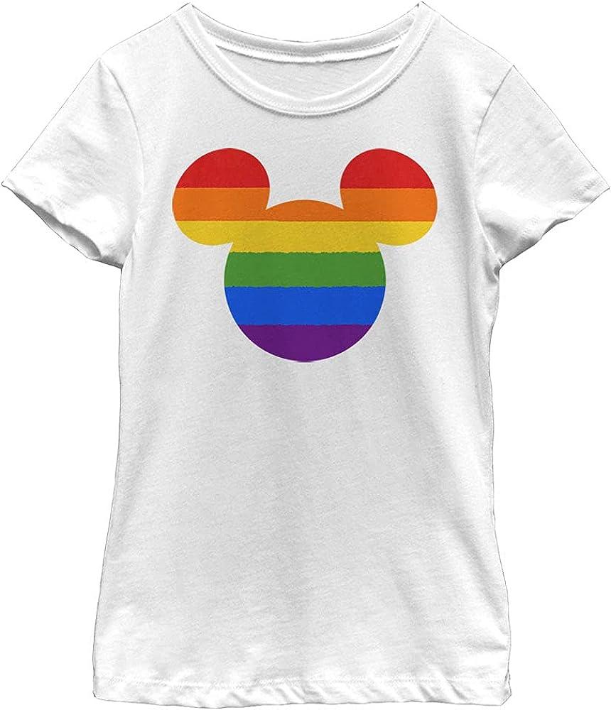 Disney Characters Rainbow Ears Girl's Solid Crew Tee