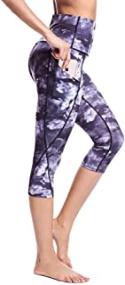 Perfect Home Women Fashion Workout Fitness Running Pants-High Waist with Printed Patterns Quick Dry Waistband Sport Leggings Fashion (Color : Purple, Size : XL)
