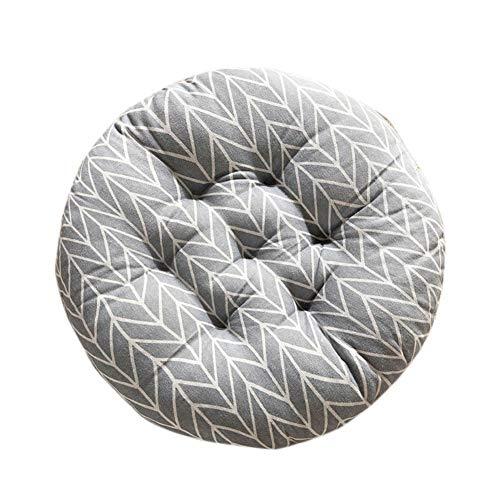 Larew Cojín redondo para el suelo, cojín de jardín al aire libre, patrón de ratán, silla con motivos de muebles, dispersión, cojín étnico, 40 x 40 cm, flecha gris