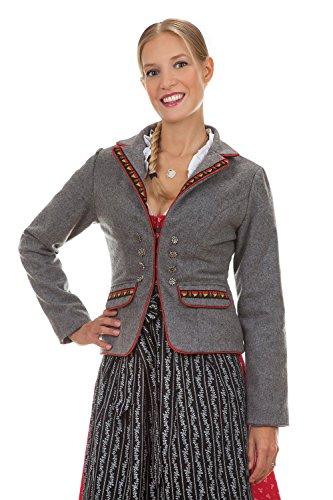 Edelnice Trachtenmode Trachten Blazer Wolljacke Frieda grau mit Herzchen Borte (40)
