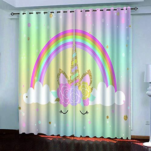 Bbaodan 2Er Set Kinder Vorhang Blickdicht Schal Regenbogen-Einhorn 3D Gardine Blickdichte Mit Ösen, 260G/M² Micofaser Schwere Verdunklungsvorhänge Thermovorhang B75XH166Cm
