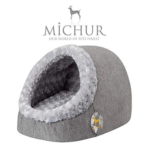 Michur Katzenhöhle & Hundehöhle Luisa, waschbare Kuschelhöhle für Katzen und Hunde in edlem grau, mit beidseitig anwendbarem Kissen, für kleine Hunde und Katzen, 43 x 34 x 27 cm
