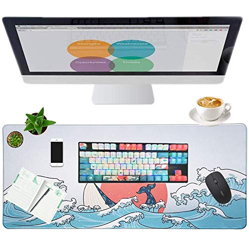 Large Gaming Mouse Pad & Keycaps Kit, Extended Mouse Mat Non-Slip Spill-Resistant Desk Pad (27.6x11.8inch) with Special Pattern Design and 108 Keys PBT Dye Sublimation KeyCaps Set for Home and Office