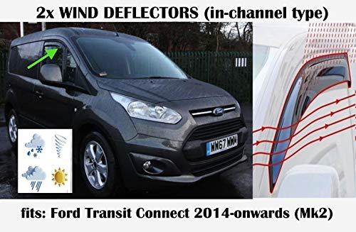 Windabweiser für Ford Transit Tourneo Connect MK2 Panel Van LAV 2014 2015 2016 2017 2018 2019 2020, Seitenvisiere, Fensterabweiser, 2 Stück