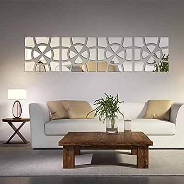 Alrens(TM)48pcs/Set Geometric Art Mirror Effect 3D Wall Sticker TV Backdrop Door Decorative DIY Painting Acrylic Sticker Living Room Home Decor 30120cm