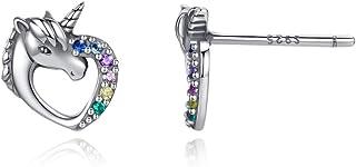 Pendientes con forma de unicornio de plata 925 para niñas, pendientes de circonita para mujer, seguro y no alergénico, joy...