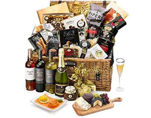 Hampton Gift Hamper With Champagne - Hand Wrapped Gourmet Food Basket, in Gift Hamper Box