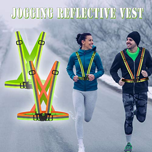 WXJ13 2 Pack Hi Vis Running Vest High Visibility Reflective Gear for Outdoor Jogging, Cycling, Motorcycle Riding, Walking and Running