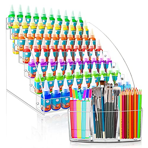 7 Layers Paint Storage Organizer and Paint Brush Holder, LASZOLA Acrylic Paint Rack Stand Oil Paint Tubes Ink Bottle Paints Tool Storage Holder with 3 Compartments Brush Organizer (No Pearl)
