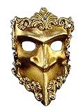 Máscara Veneciana de Media Cara Bauta Barroco para Hombres (Dorado)