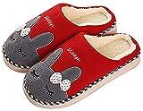 Zapatillas de Estar Zapatillas de Casa Mujer Hombre Invierno Interior Zapatos de Algodón Caliente Suave Antideslizante Slippers, Conejo Rojo, 39/40 EU