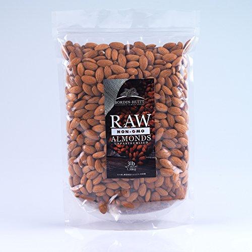 RAW, NON GMO, UNPASTEURIZED, ALMONDS, (3lb), GLUTEN FREE, KOSHER, NATURAL PREBIOTIC