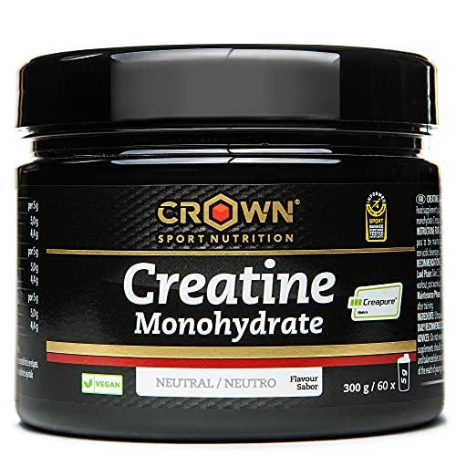 Crown Sport Nutrition Creatine Monohydrate Supplemento di Creatina Monoidrato per aumentare massa muscolare, Polvere flavor Neutro - 300 gr