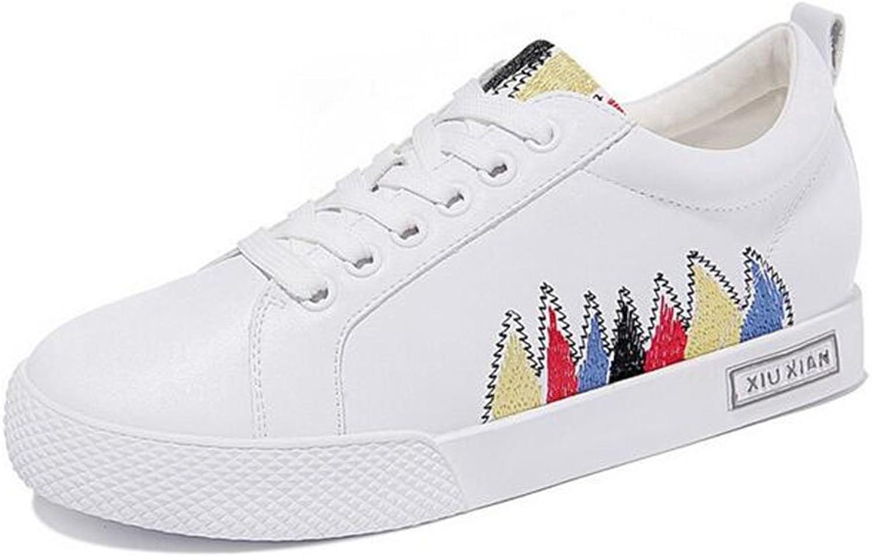 Jiang Woherrar skor läder Springaa Fall Comfort skor, Flat Heel Little vit skor, Mina damer Osynliga skor på däck.