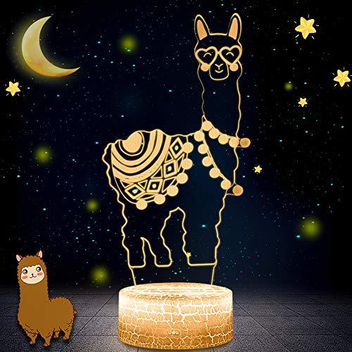 3D Illusion Nachtlampe Lama, 7 Farben ändern Touch Control LED Schreibtisch Tischlampe Dekoration Nachttischlampe für Halloween Weihnachten Geburtstag Baby Kinder,Wohnkultur Geschenk (Alpaka)