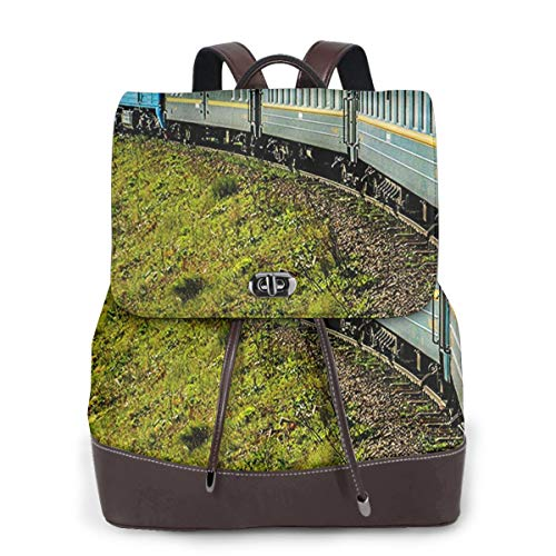 Zaino Donna Vera Pelle Ferrovia Transiberiana Borsa Da Viaggio a Grande Capacità, Borsa a Tracolla Lady Fashion Backpack Daypack Per Scuola Viaggio Lavoro
