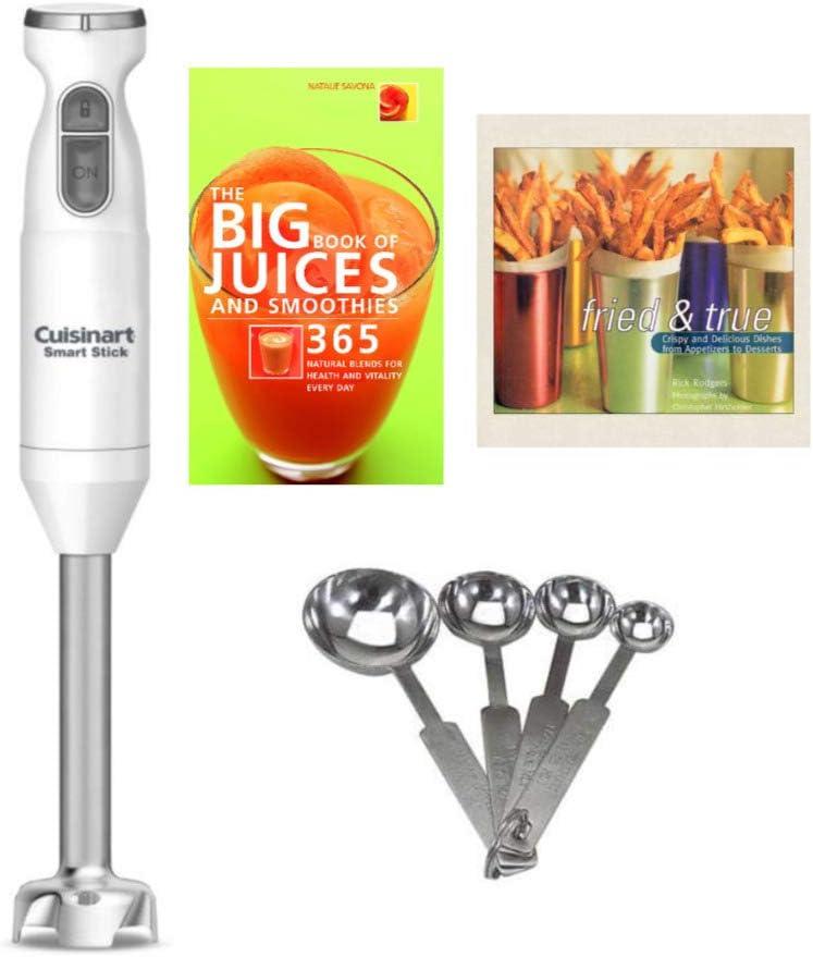 Cuisinart Smart Stick Two-Speed Hand Blender Set w/Measuring Spoon Set & 2 Recipe Books Bundle (4 Items)